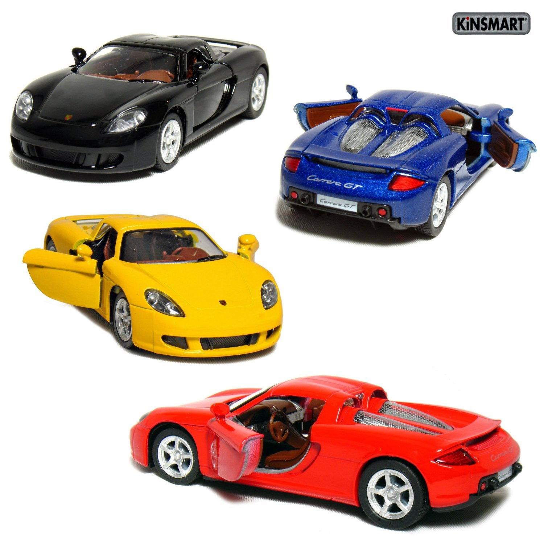 "Set of 4: 5"" Porsche Carrera GT 1:36 Scale (Black/Blue/Red/Yellow) by Kinsmart"