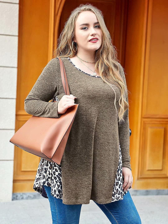 LARACE Leopard Print Tops for Women Plus Color Block Sweatshirt Pullover Sweaters Long Sleeve Tunic Loose Shirts