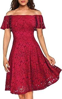 فستان Kidsform نسائي بدون كتف مثير من الدانتيل ضيق أنيق لحفلات الكوكتيل بأكمام طويلة