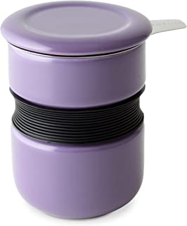FORLIFE Curve Asian Style Tea Cup with Infuser and Lid, 12-Ounce, Purple