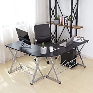 PamaPic L Shaped Computer Desk Home Office Corner Desk with Sliding Keyboard Trey and CPU Stand (Wood & Metal)