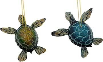 Globe Imports - Sea Turtle Christmas Ornaments Bundle - 1 Blue and 1 Green Hanging Ornaments
