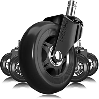 Amazon Com Office Chair Wheels Black Replacement Rubber Chair Casters For Hardwood Floors And Carpet Set Of 5 Heavy Duty Office Chair Casters For Chairs To Replace Chair Mats Universal Fit