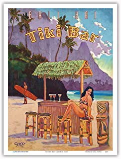 Pacifica Island Art - Tiki Bar - Bali Hai, Makana Mountain - Kauai Hawaii - Vintage Hawaiian Travel Poster Rick Sharp - Master Art Print - 9in x 12in