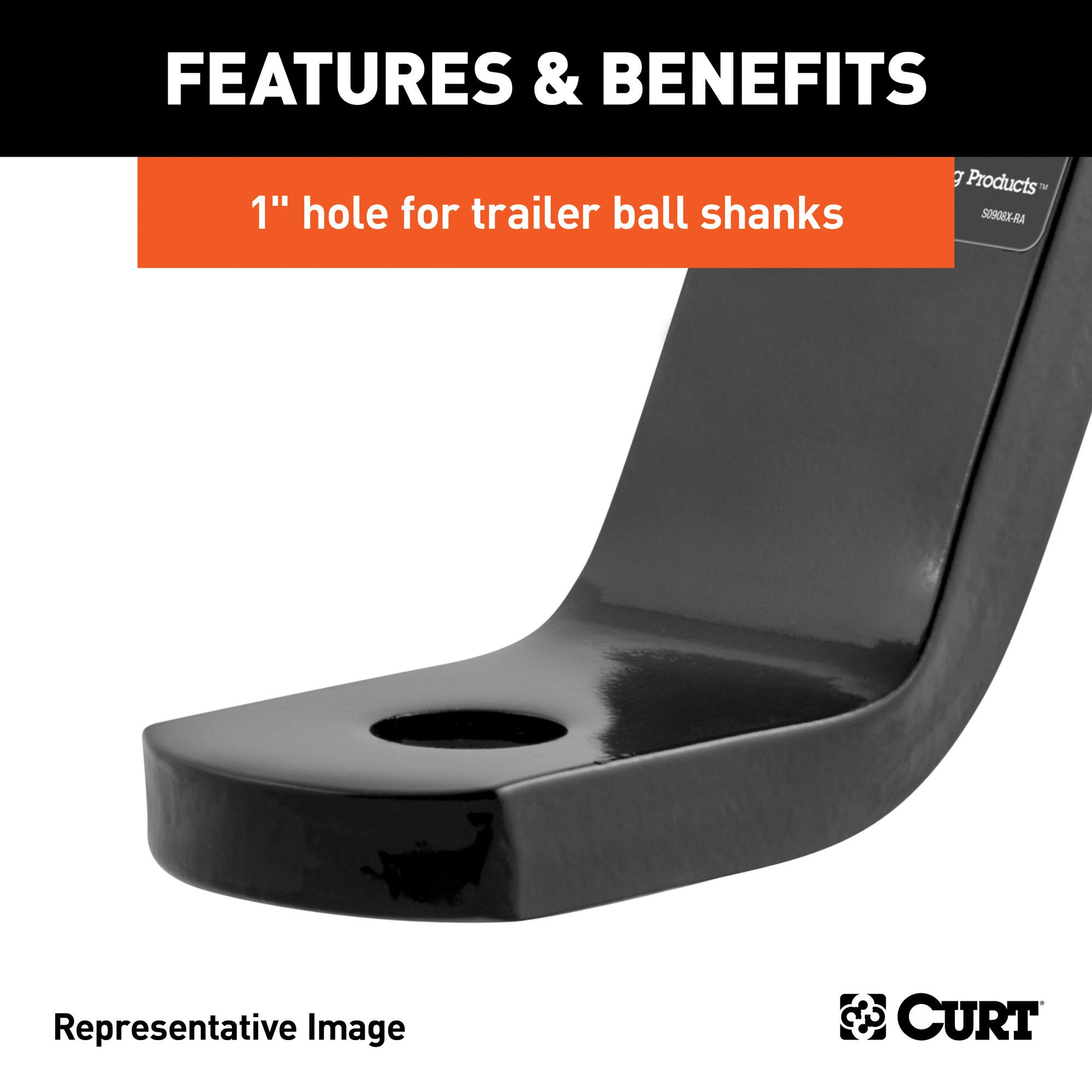CURT 45260 Class 3 Trailer Hitch Ball Mount, Fits 2-Inch Receiver, 7,500 lbs, 1-Inch Hole, 2-In Drop, 3/4-Inch Rise