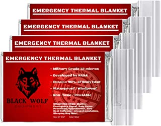 Black Wolf Emergency Mylar Thermal Blankets (5 Pack) Perfect for Extreme Cold, Camping, Hiking, Survival Gear, Rescue Foil, Sleeping Bags or First Aid kit.