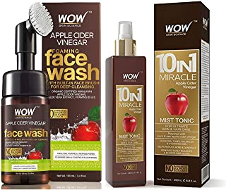WOW Skin Science Apple Cider Vinegar Foaming Face Wash - No Parabens, Sulphate & Silicones (with bui & WOW 10 in 1 Miracle...