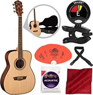 Washburn Apprentice 5 Series AF5K Folk Acoustic Guitar with Guitar Strings, Tuner, and Accessory Bundle