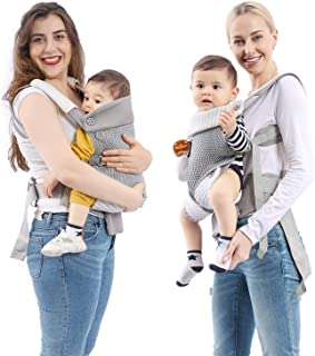 mommore Breathable Baby Carrier Ergonomic Soft Carrier with Bibs, Detachable Small Pouch for Infant and Toddler, Grey