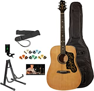 Sawtooth 6 String Acoustic Guitar Pack, Right Handed, Natural w/Graphic, Gig Bag and Accessories (ST-ADN-D-KIT-3)