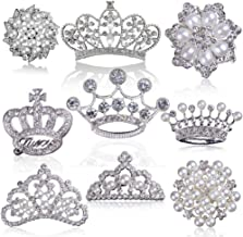 Rhinestone Pearl Embellishments, Big Flatback Rhinestone Buttons, for Pearl Brooch, Pearl Flower Crown Tiara for Wedding Party Home Decoration and DIY Crafts (Silver, Mixed 9 Styles, Pack of 9PCS)