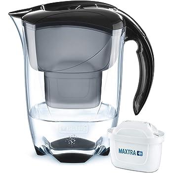 BRITAElemarisNegra- Jarra de Agua Filtrada con 1 cartucho MAXTRA+, Filtro de aguaBRITA que reduce la cal y el cloro, Agua filtrada para un sabor óptimo, 2.4L