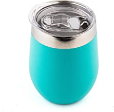 DOKIO 12 oz Cyan Wine Glasses Sippy Cup Tumbler Stemless Double Wall Vacuum Insulated With Crystal Clear Lid Unbreakable For Ice Hot Drink Coffee Champagne Cocktail Mug