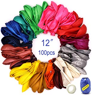100 Balloons for Parties Assorted Color Rainbow Colorful Party Balloons Premium Balloon Pack Bulk Thick Latex Balloons 12 Inch Filled with Air Helium Water