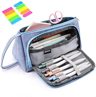 Pencil Case, Yloves Big Capacity Pen Pencil Bag Pouch Box Organizer Holder with 2 PCS Index Tabs for School Office (Light ...