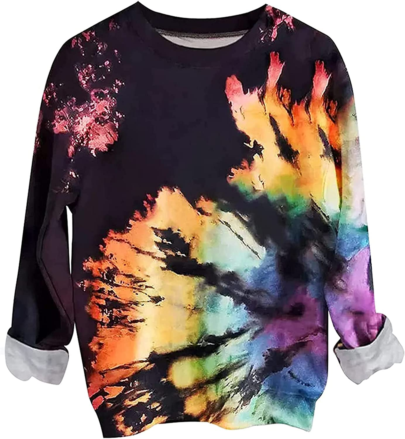 Hoodies for Women Comfy Tie Dye Print Casual Rainb Online limited product Pullover Max 60% OFF Tops