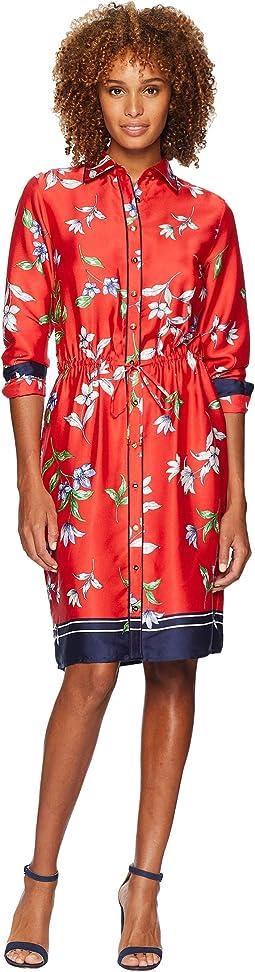 Floral-Print Twill Shirtdress