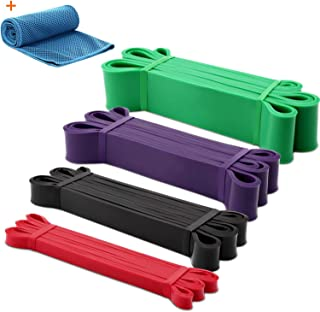 GRM Resistance Bands Exercise Workout Bands Pull up Assist Bands Stretch Heavy Duty Bands for Body Stretching Mobility Powerlifting Bands (Set of 4)