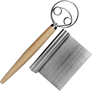 MyLifeUNIT Danish Dough Whisk, Dutch Dough Mixer with Stainless Steel Bench Scraper for Pastry and Bread Dough (13 Inch)