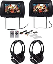 "Pair Rockville RHP91-BK v2 9"" Black Car Headrest Monitors w/Speakers+Headphones"