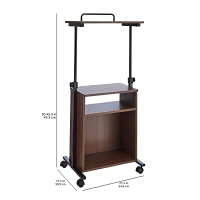Amazon Basics Adjustable Standing Mobile Laptop Cart with Storage Shelves, Natural