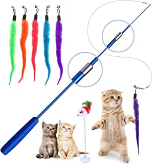 Retractable Cat Toys Wand with 5 Piece Teaser Refills, Interactive Cat Feather Toy for Cat Kitten Having Fun Exerciser Playing