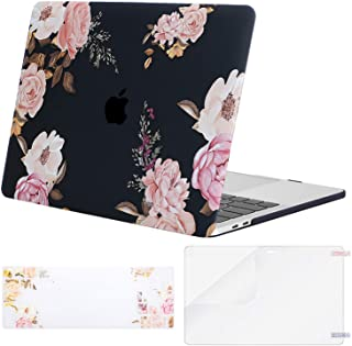 MOSISO MacBook Pro 13 inch Case 2019 2018 2017 2016 Release A2159 A1989 A1706 A1708, Plastic Flower Pattern Hard Case&Keyboard Cover&Screen Protector Compatible with MacBook Pro 13, Peony Black Base