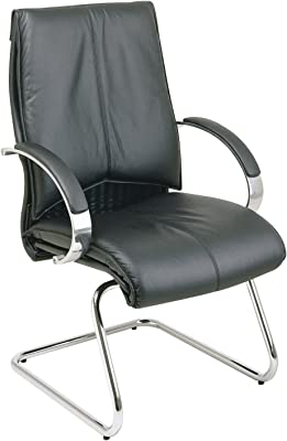 Office Star Deluxe Mid Back Leather Visitors Chair with Chrome Base and Padded Chrome Arms