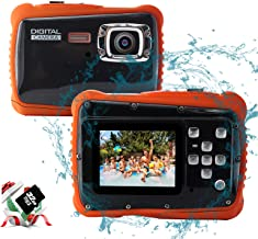 YEEIN Kids Digital Camera 3M Underwater Digital Kids Camera 8X Digital Zoom Suitable for Boys and Girls Toys, with 32G SD Card(Black)