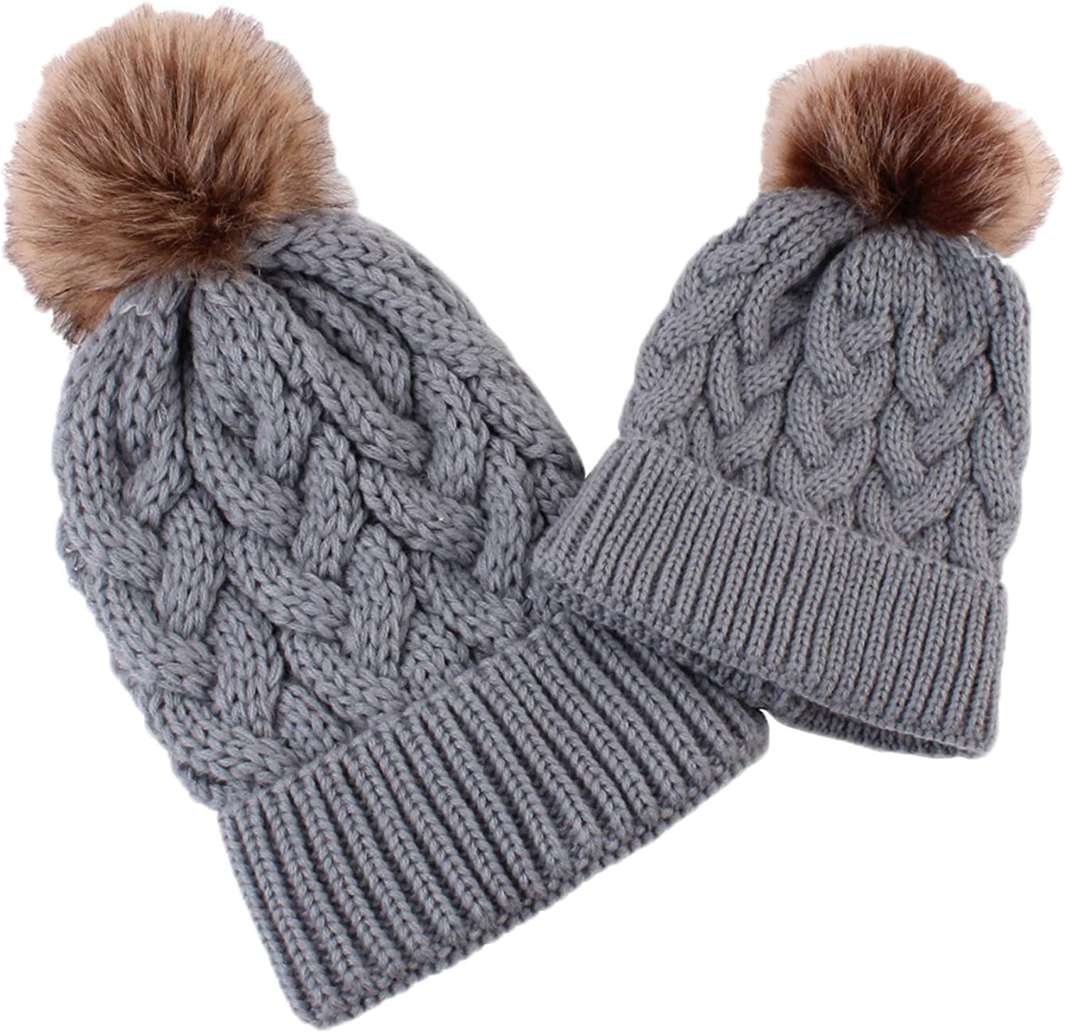 U2BUY Mother and Baby Toddler Knit Hat Winter Chicago Mall Warm ...