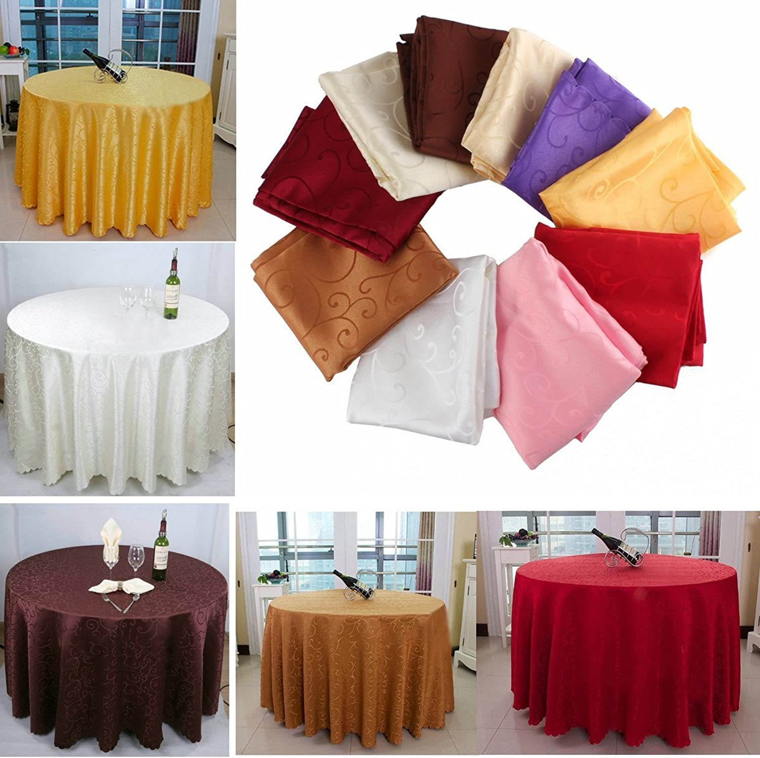 Generic 200cm Polyester Absorbent Round Tablecloth for Hotel Restaurant Wedding Decor