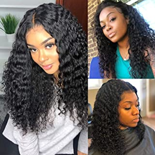 BLY Water Wave Lace Front Wigs Human Hair with Baby Hair Brazilian Virgin Curly Hair 16 Inch for Black Women 150% Density Pre Plucked 13x4 Swiss Lace Size Part Natural Looking Jet Black Color