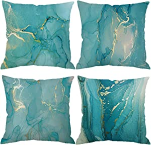 Set of 4 Throw Pillow Covers Glitter Teal Marble Pastel Abstract Teal Green Gold Watercolor Blush Cracked Line 18x18 Decorative Cushion Cover Home Decor Spring Fall Hidden Zipper Pillow Case Counch