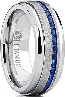 Men's Eternity Titanium Wedding Band Engagement Ring W/Blue Simulated Sapphire Cubic Zirconia Princess CZ