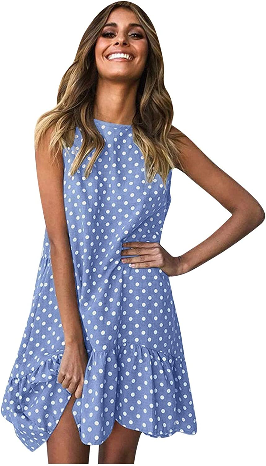 2021 Large special price Womens Round Neck Sleeveless Polka Ruffle Swing Dot Japan's largest assortment D