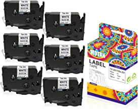 Replaces Brother P Touch Label Tape, Tze231 Tze-231 12mm / 0.47 Laminated Black on White Tze Tz Tape for P-Touch Label Maker Machine PT-D210 PT-D200 PT-2030 PT-H110 PT-D400 D600, 26.2 Feet (8M) 6-Pack