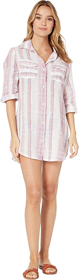 Mykonos Stripe Crochet Back Shirtdress Cover-Up