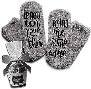 Kylewo, Kylewo Calcetines de Vino! Calcetines Divertidos con Papel de Regalo de Cupcake, calcetín de algodón cálido