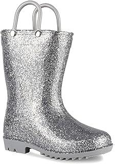 Lilly of New York Children's Glitter Rain Boots for Little Kids & Toddlers, Boys & Girls (12 Little Kid, Silver Glitter)