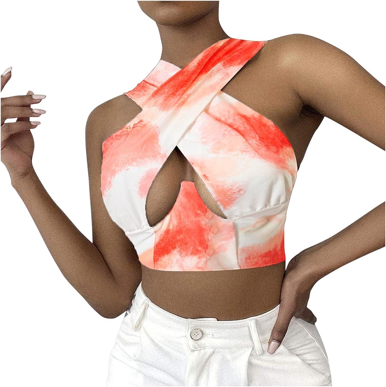 POLLYANNA KEONG Womens Tank Tops,Women Sexy Halter Criss Cross Crop Top Tie Tank Top Cut Out for Rave Cami Clubwear