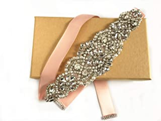 ZIUMUDY Bridal Rhinestone Belts Handmade Clear Crystal Sashes Wedding Belts For Evening Gowns