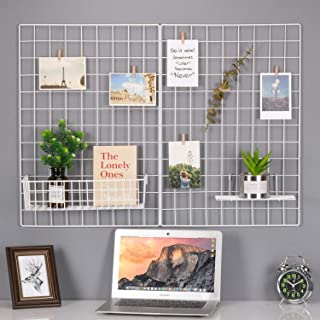 Kaforise Wire Wall Grid Panel, Multifunction Painted Photo Hanging Display and Wall Storage Organizer, Pack of 2, Size 25.6