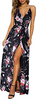 Women's Deep V-Neck Casual Solid/Floral Print Maxi Split Dress