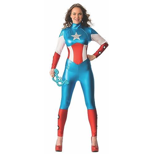 Rubie\u0027s 820008 Official Marvel Miss American Dream Captain Amercia Catsuit  Costume, Adult\u0027s, X,