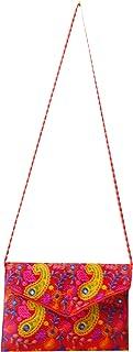 Bolso de mano India paisley rojo bordados algodón multicolor bolsa accesorio