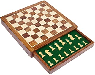 Early Black Fri Xmas Deal Sale - StonKraft Wooden Chess Board Game Set with Magnetic Pieces (12 x 12 Non-Folding with Drawer)