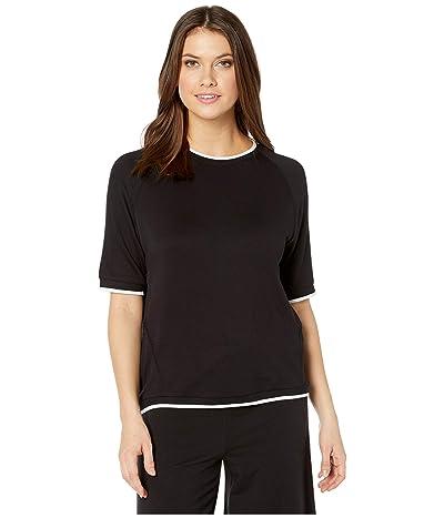 Donna Karan French Terry Short Sleeve Top (Black) Women