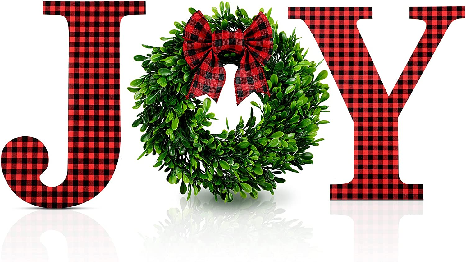 12 Inch Christmas Joy Home Sign Wooden Joy Letter Sign Wall Decor Buffalo Plaid Wall Hanging Letter Faux Green Farmhouse Wreath Large Joy Sign with Plaid Bow for Indoor Outdoor Decor (Red-Black)