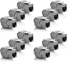 deleyCON 12x Module Keystone Cat 6a Jack - Blindé STP Connecteur RJ45 Installation Snap-in Montage Câble Brut Cat 500Mhz 10GBit/s