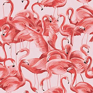 Tempaper Cheeky Pink  Flamingo | Designer Removable Peel and Stick Wallpaper